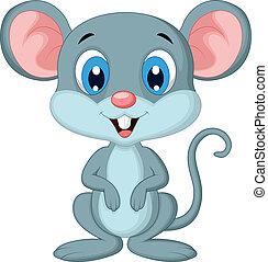 lindo, ratón, caricatura
