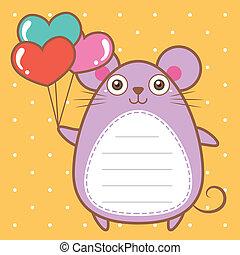 lindo, ratón, de, álbum de recortes, plano de fondo