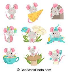 lindo, ratón, en, diferente, situaciones, conjunto,...