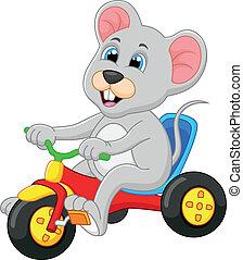 lindo, ratón, montar a caballo de la bicicleta