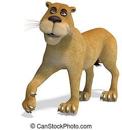 lindo, recorte, divertido, muy, lion., encima, caricatura, interpretación, hembra, trayectoria, blanco, sombra, 3d