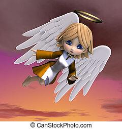 lindo, recorte, halo., ángel, caricatura, interpretación, trayectoria, alas, 3d