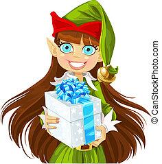 lindo, regalo, elasticidad, duende, niña, navidad