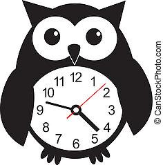 lindo, reloj, pared, ilustración, sticker., vector, búho
