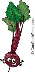 lindo, remolacha, vegetal, caricatura, ilustración