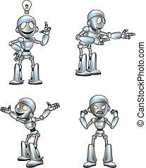lindo, robot, caricatura, mascota