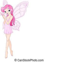 lindo, rosa, hada, con, mariposa