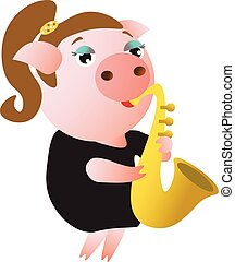 lindo, saxophone., juegos, cerdito, hembra