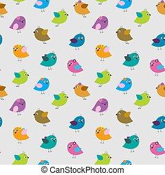 lindo, seamless, patrón, con, diferente, caricatura, aves