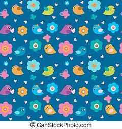 lindo, seamless, patrón, con, poco, aves, y, flores