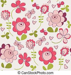 lindo,  seamless, patrón,  seamless, flores, mariposa
