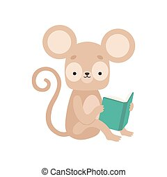 lindo, sentado, carácter, libro, ilustración, mono tití, vector, animal, lectura, adorable, libro, elegante