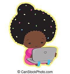 lindo, sentado, de piel oscura, laptop., mecanografía, niña