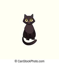 lindo, sentado, velloso, gato, negro, derecho, chatacter