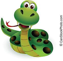 lindo, serpiente, caricatura