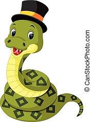 lindo, serpiente verde, caricatura