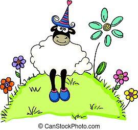 lindo, sheep, en, un, jardín