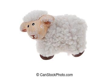 lindo, sheep, juguete, aislado