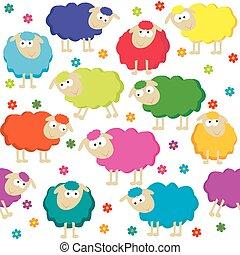 lindo, sheeps, seamless, plano de fondo