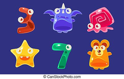 lindo, siete animales, colorido, conjunto, número,...