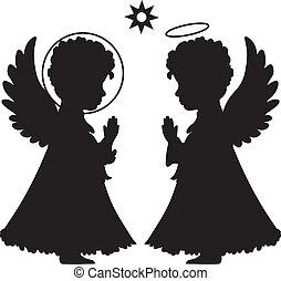 lindo, siluetas, conjunto, ángeles