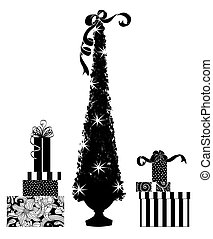 lindo, siluetas, de, un, árbol de navidad, y, regalos