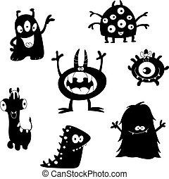 lindo, siluetas, monstruos