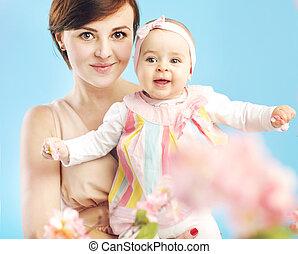 lindo, simpático, hija, madre