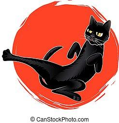 lindo, sol, gato, karate, vector, negro, logotipo, rojo
