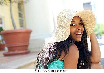 lindo, sol, norteamericano, reír, africano, niña, sombrero