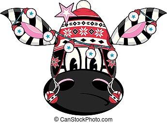 lindo, sombrero, caricatura, bobble, zebra