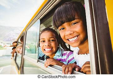 lindo, sonriente, cámara, alumnos