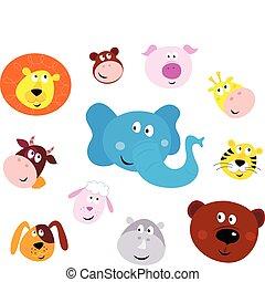 lindo, sonriente, cabeza, iconos animales