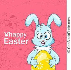 lindo, sonriente, conejo, con, huevo, para, pascua feliz, cómico, conejito, celebración, invitación