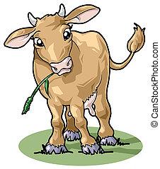 lindo, sonriente, estilo, caricatura, cow.