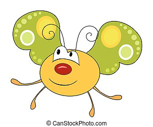 lindo, sonriente, mariposa amarilla, aislado, blanco