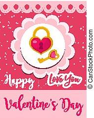 lindo, symbols., amor, card., cartel, valentino, espacio, saludo, texto, día, invitación, fondo., vector, diseño, corazones, romántico, illustration., usted, feliz, su, plantilla