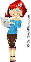 lindo, tableta, haired, computadora, niña, rojo