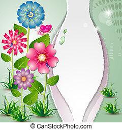 lindo, tarjeta, con, flores coloridas