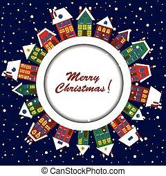 lindo, tarjeta de navidad, casas