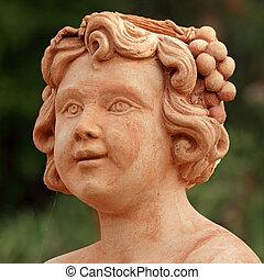 lindo, terracota, detalle, cara, niño, toscano, :, escultura