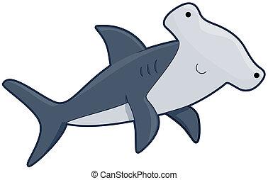 lindo, tiburón pez martillo