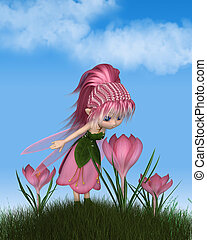 lindo, toon, rosa, azafrán, hada, en, un, soleado, primavera, día