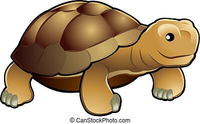lindo, tortuga, ilustración, vector