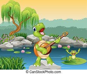 lindo, tortuga, tocar la guitarra, en, roca