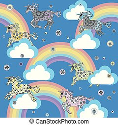 lindo, unicornios, nubes, caricatura, plano de fondo