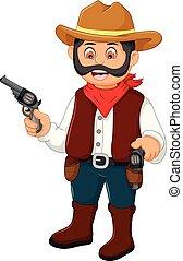 lindo, vaquero, caricatura, tenencia, un, arma de fuego