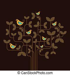 lindo, vector, aves, en, un, árbol