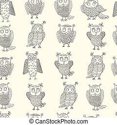lindo,  vector, búhos, caricatura, patrón