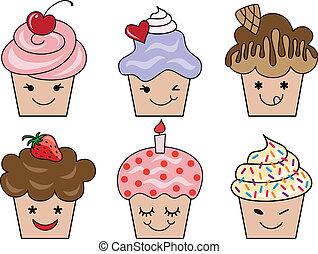 lindo, vector, caras, cupcake